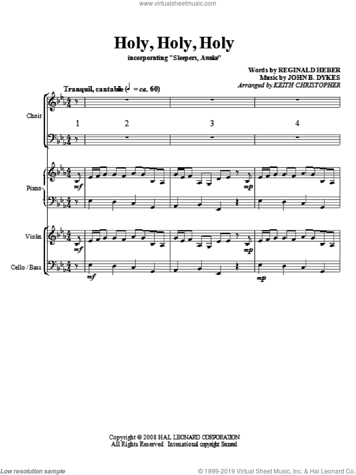 Holy, Holy, Holy (COMPLETE) sheet music for orchestra/band (Strings) by John Bacchus Dykes, Reginald Heber and Keith Christopher, classical score, intermediate skill level