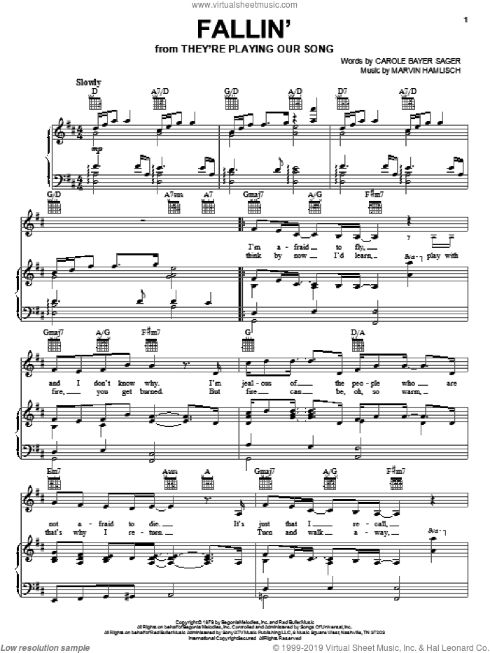 Fallin' sheet music for voice, piano or guitar by Marvin Hamlisch and Carole Bayer Sager, intermediate skill level