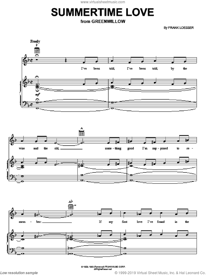 Summertime Love sheet music for voice, piano or guitar by Frank Loesser, intermediate skill level