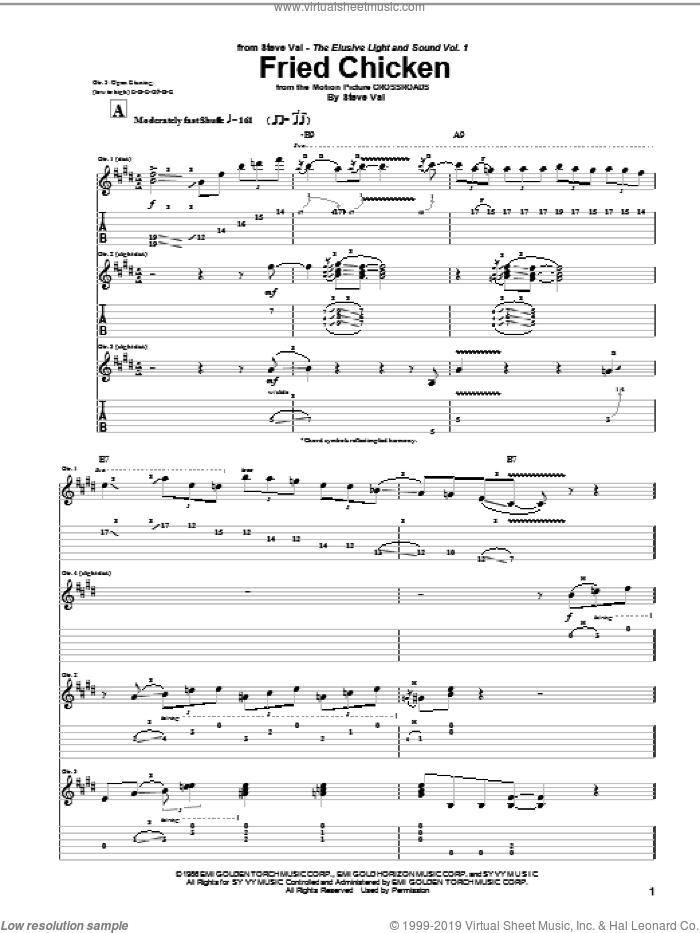 Fried Chicken sheet music for guitar (tablature) by Steve Vai, intermediate skill level