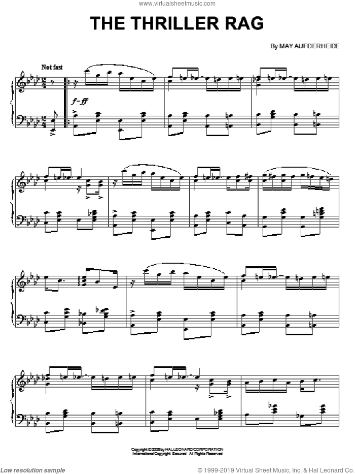 The Thriller Rag sheet music for piano solo by May Aufderheide, intermediate skill level