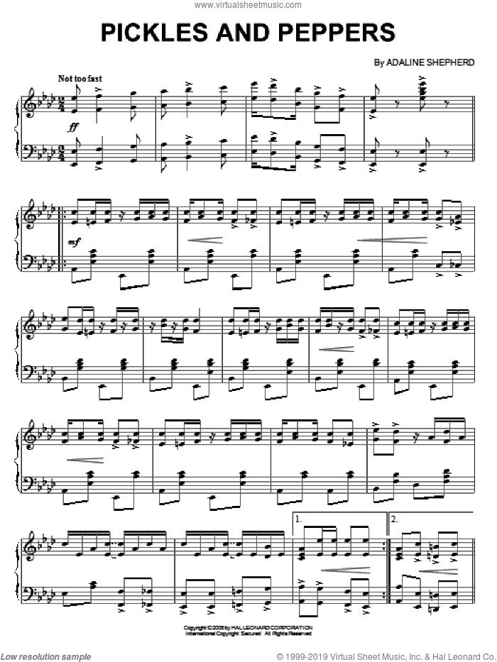 Pickles And Peppers sheet music for piano solo by Adaline Shepherd, intermediate skill level