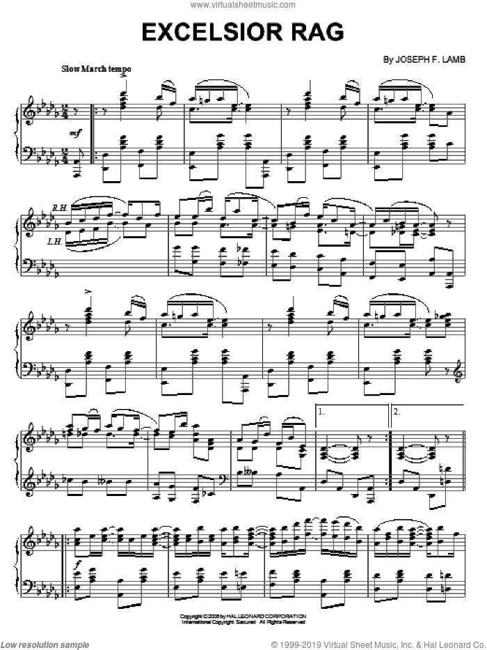 Excelsior Rag sheet music for piano solo by Joseph Lamb, intermediate skill level
