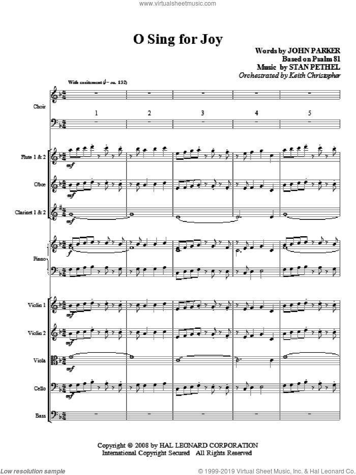 O Sing For Joy! (COMPLETE) sheet music for orchestra/band (chamber ensemble) by Stan Pethel and John Parker, intermediate skill level