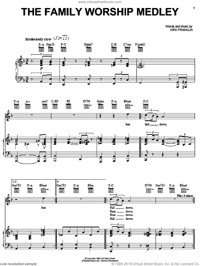 The Family Worship Medley sheet music for voice, piano or guitar by Kirk Franklin, intermediate skill level