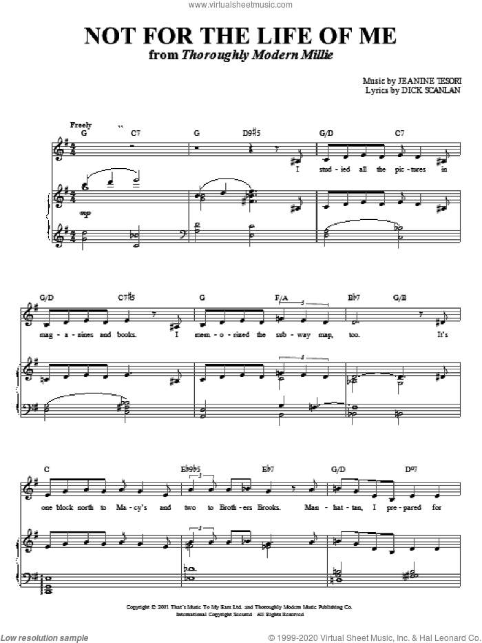 Not For The Life Of Me sheet music for voice and piano by Dick Scanlan and Jeanine Tesori, intermediate skill level