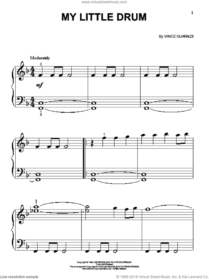 My Little Drum sheet music for piano solo (big note book) by Vince Guaraldi, easy piano (big note book)