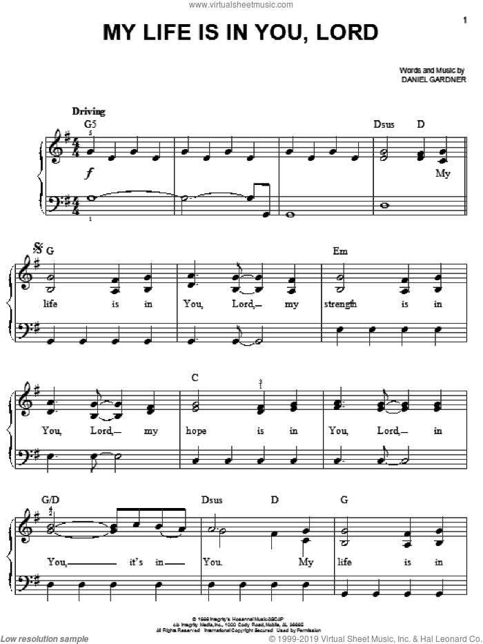 My Life Is In You, Lord sheet music for piano solo by Daniel Gardner, easy skill level