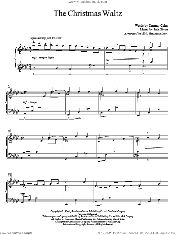 The Christmas Waltz, (beginner) sheet music for piano solo (elementary) by Sammy Cahn and Jule Styne, beginner piano (elementary)