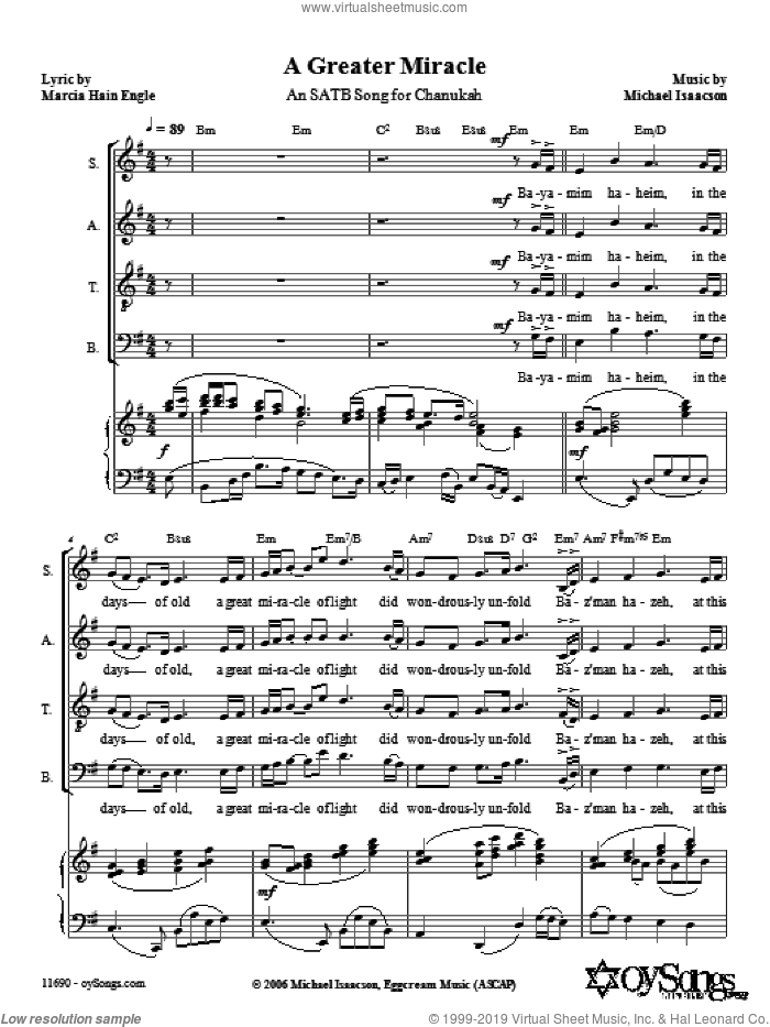 A Greater Miracle sheet music for choir (SATB: soprano, alto, tenor, bass) by Michael Isaacson and Marcia Hain Engle, intermediate skill level