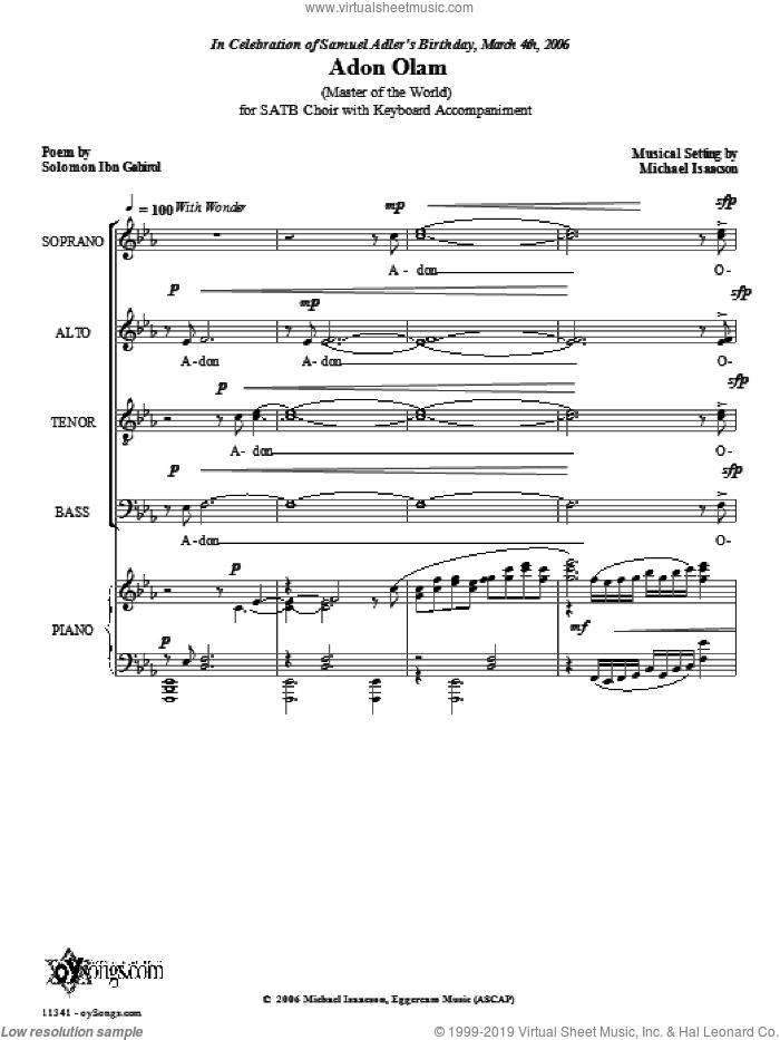 Adon Olam sheet music for choir (SATB: soprano, alto, tenor, bass) by Michael Isaacson, intermediate skill level