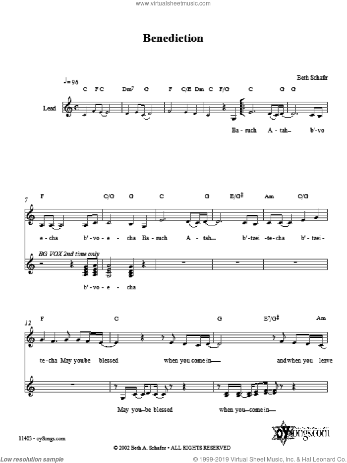 Benediction sheet music for voice and other instruments (fake book) by Beth Schafer, intermediate skill level