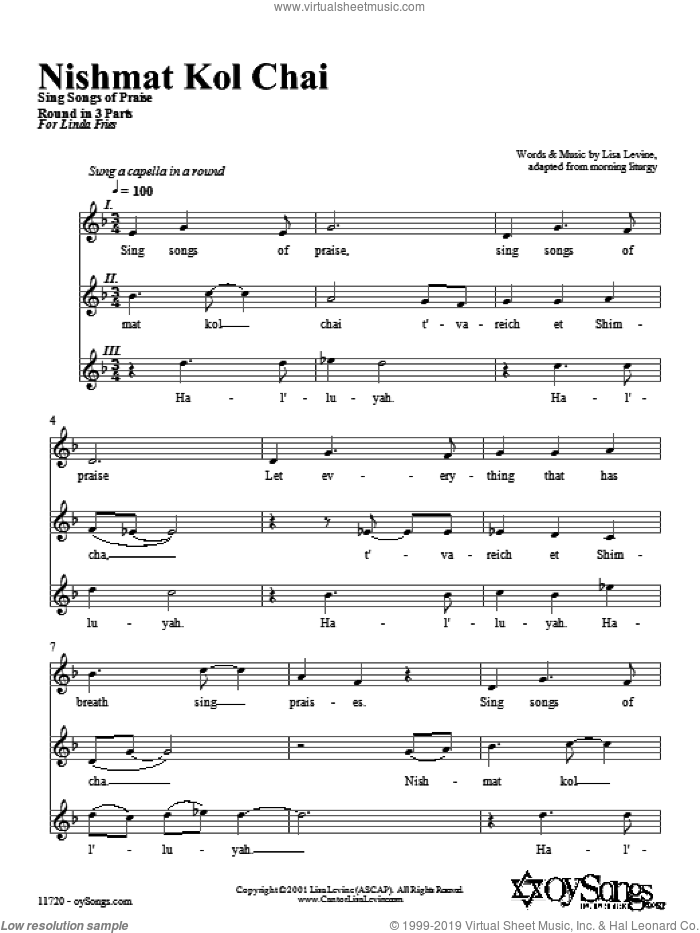 Nishmat Kol Chai sheet music for choir (3-Part Mixed) by Lisa Levine, intermediate skill level