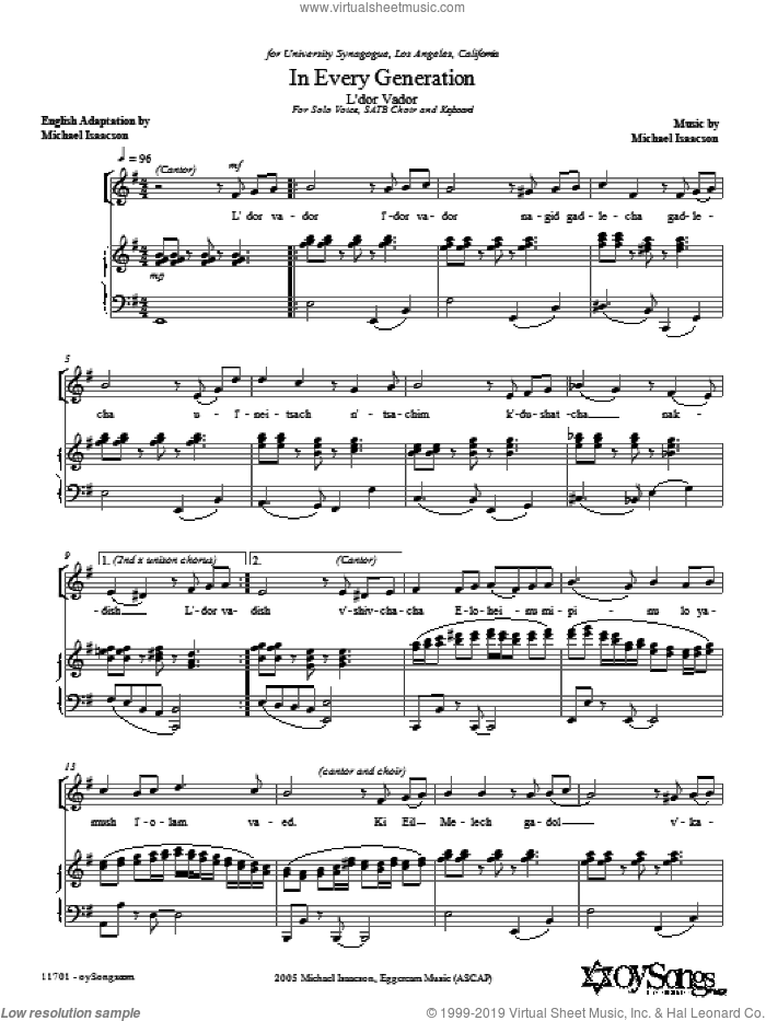 In Every Generation (L'dor Vador) sheet music for choir (SATB: soprano, alto, tenor, bass) by Michael Isaacson, intermediate skill level