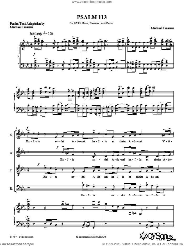 Psalm 113 (Hal'luyah) sheet music for choir (SATB: soprano, alto, tenor, bass) by Michael Isaacson, intermediate skill level