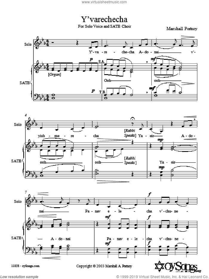 Y'varechecha sheet music for choir (SATB: soprano, alto, tenor, bass) by Marshall Portnoy, intermediate skill level