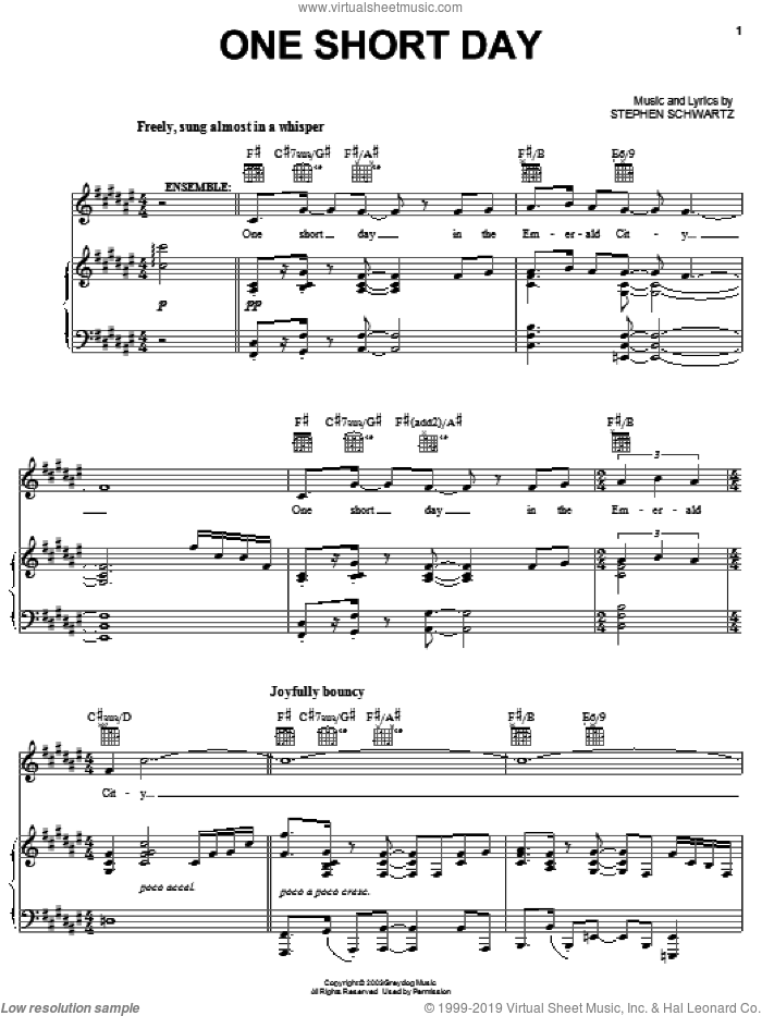 One Short Day (from Wicked) sheet music for voice, piano or guitar by Stephen Schwartz and Wicked (Musical), intermediate skill level