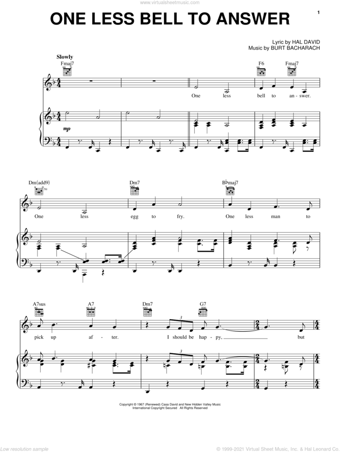 One Less Bell To Answer sheet music for voice, piano or guitar by Bacharach & David, Miscellaneous, The Fifth Dimension, Burt Bacharach and Hal David, intermediate skill level