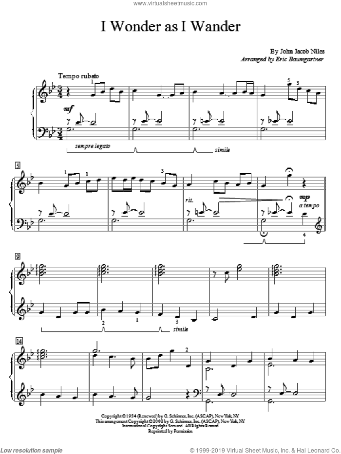 I Wonder As I Wander sheet music for piano solo (elementary) by John Jacob Niles, beginner piano (elementary)