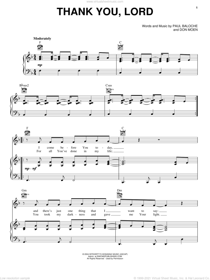 Thank You, Lord sheet music for voice, piano or guitar by Paul Baloche and Don Moen, intermediate skill level