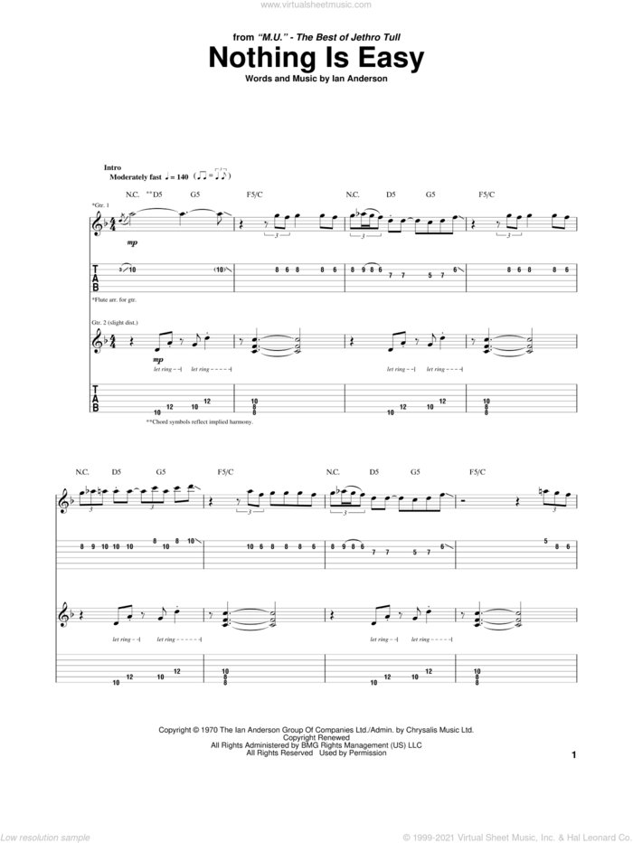 Nothing Is Easy sheet music for guitar (tablature) by Jethro Tull and Ian Anderson, intermediate skill level