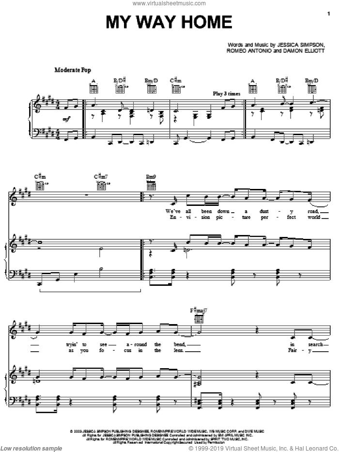 My Way Home sheet music for voice, piano or guitar by Jessica Simpson, Damon Elliott and Romeo Antonio, intermediate skill level