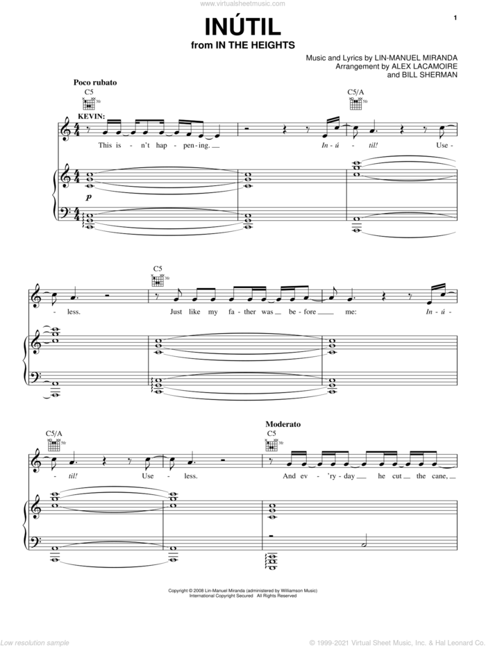 Inutil (from In The Heights: The Musical) sheet music for voice, piano or guitar by Lin-Manuel Miranda and In The Heights (Musical), intermediate skill level