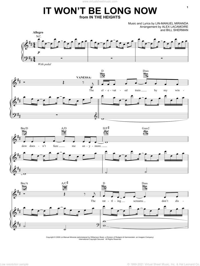 It Won't Be Long Now (from In The Heights: The Musical) sheet music for voice, piano or guitar by Lin-Manuel Miranda and In The Heights (Musical), intermediate skill level