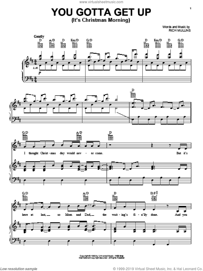 You Gotta Get Up (It's Christmas Morning) sheet music for voice, piano or guitar by Rich Mullins, intermediate skill level