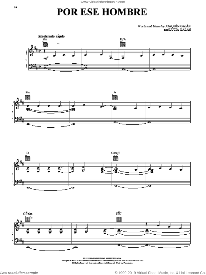 Por Ese Hombre sheet music for voice, piano or guitar by Joaquin Galan and Lucia Galan, intermediate skill level