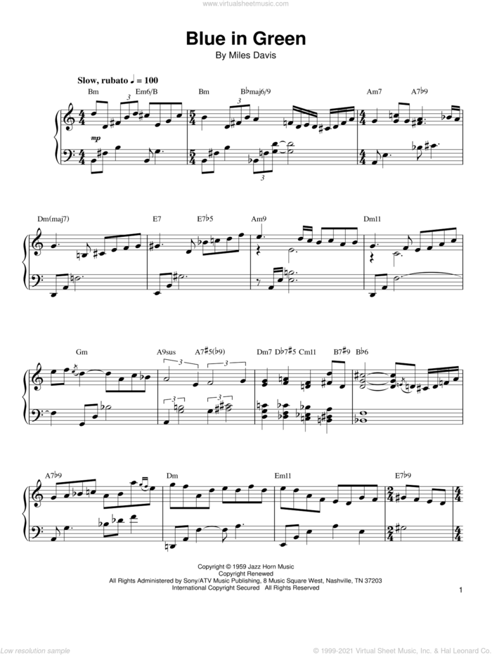Blue In Green sheet music for piano solo (transcription) by Kenny Werner and Miles Davis, intermediate piano (transcription)