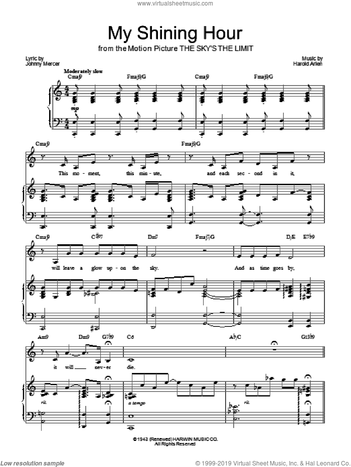 My Shining Hour sheet music for voice, piano or guitar by Barbra Streisand, Harold Arlen and Johnny Mercer, intermediate skill level