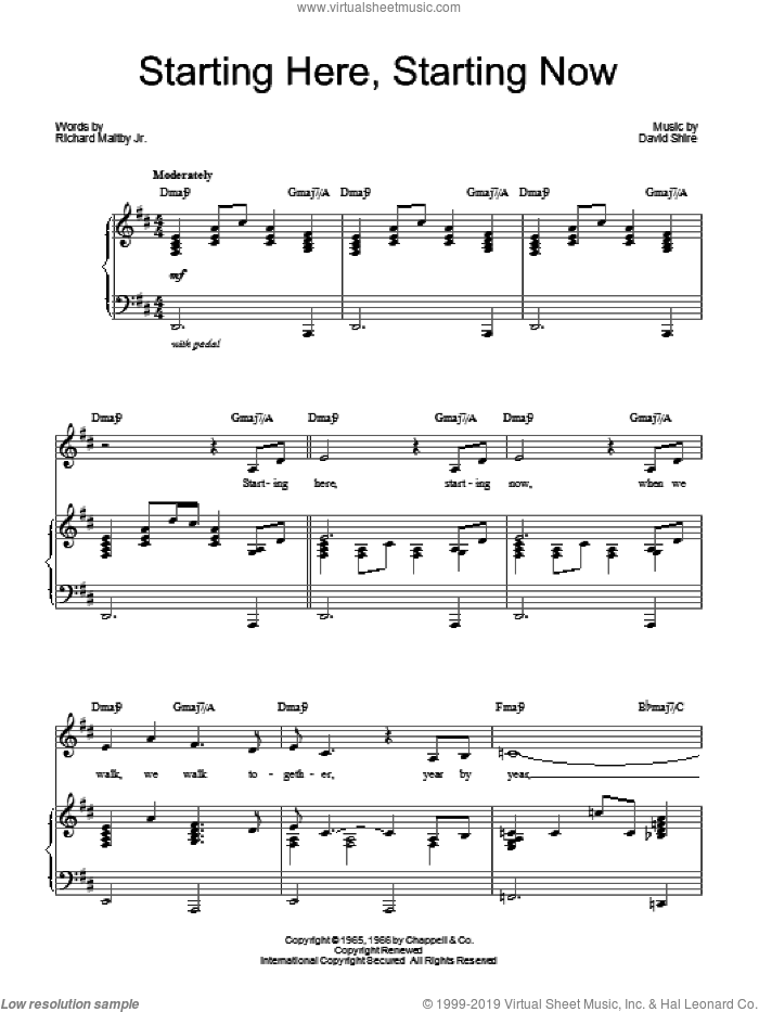 Starting Here, Starting Now sheet music for voice, piano or guitar by Barbra Streisand, David Shire and Richard Maltby, Jr., intermediate skill level