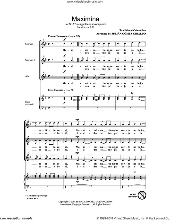 Maximina sheet music for choir (SSA: soprano, alto) by Julian Gomez Giraldo and Miscellaneous, intermediate skill level