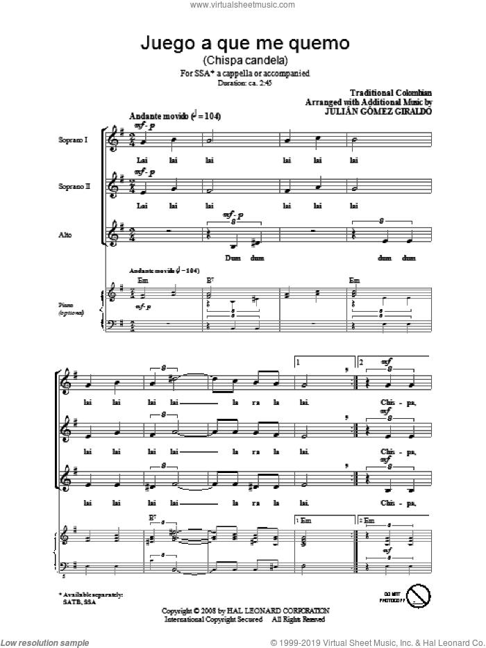 Juego A Que Me Quemo (Chispa Candela) sheet music for choir (SSA: soprano, alto) by Julian Gomez Giraldo and Miscellaneous, intermediate skill level