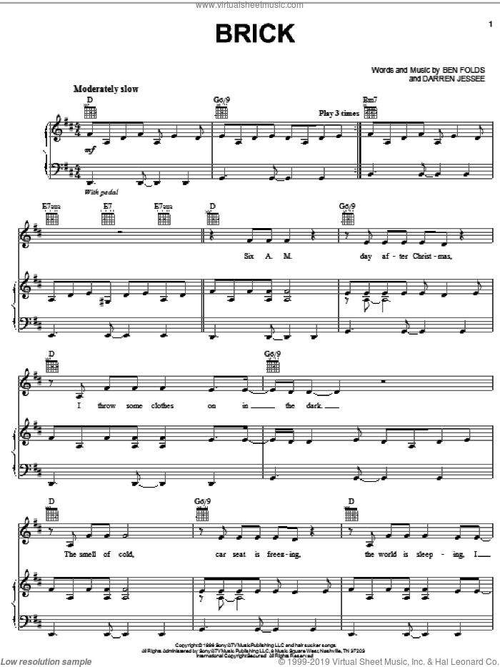 Brick sheet music for voice, piano or guitar by Ben Folds Five, Ben Folds and Darren Jessee, intermediate skill level