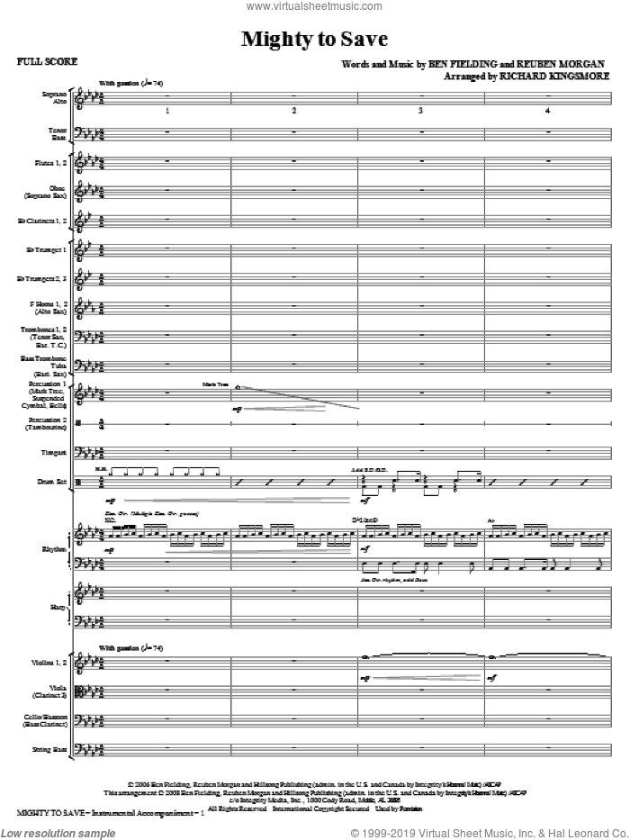 Mighty To Save (COMPLETE) sheet music for orchestra/band (Orchestra) by Reuben Morgan, Ben Fielding and Richard Kingsmore, intermediate skill level