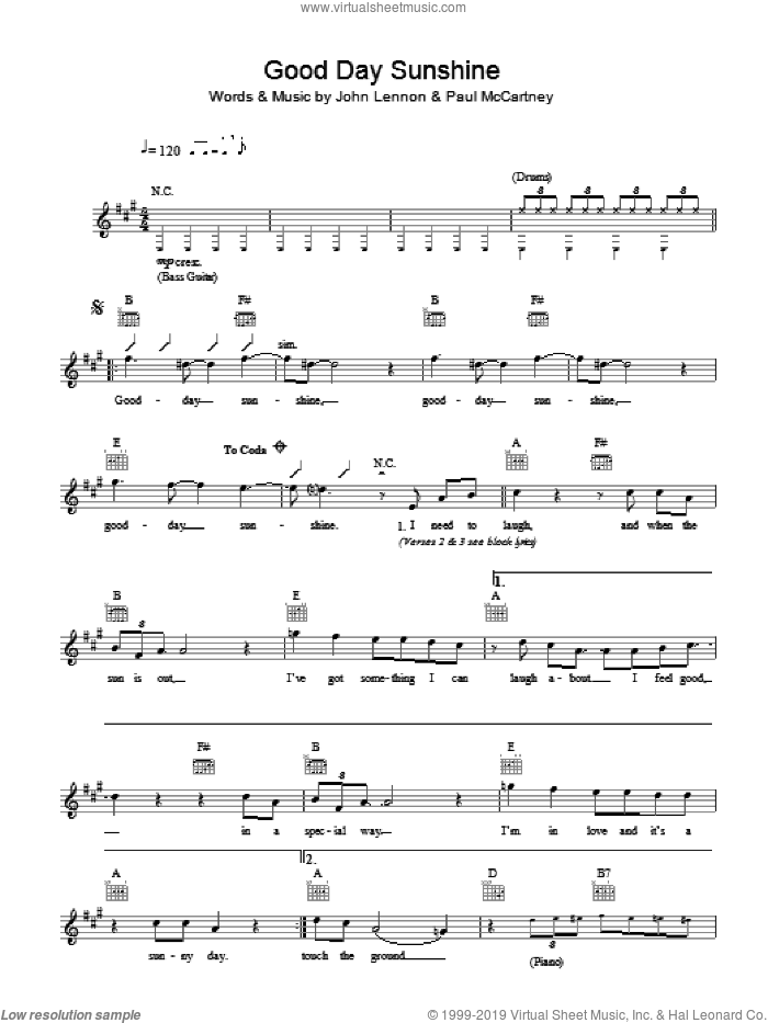 Good Day Sunshine sheet music for voice and other instruments (fake book) by The Beatles, John Lennon and Paul McCartney, intermediate skill level