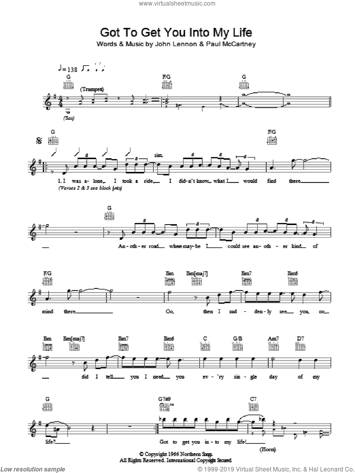 Got To Get You Into My Life sheet music for voice and other instruments (fake book) by The Beatles, John Lennon and Paul McCartney, intermediate skill level
