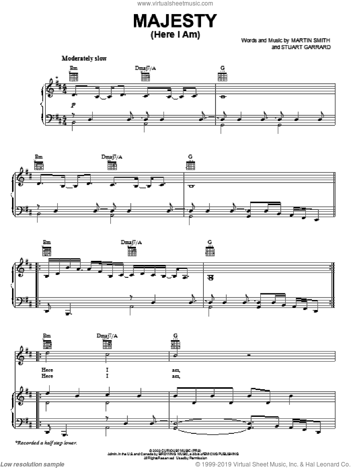 Majesty (Here I Am) sheet music for voice, piano or guitar by Delirious?, Martin Smith and Stuart Garrard, intermediate skill level