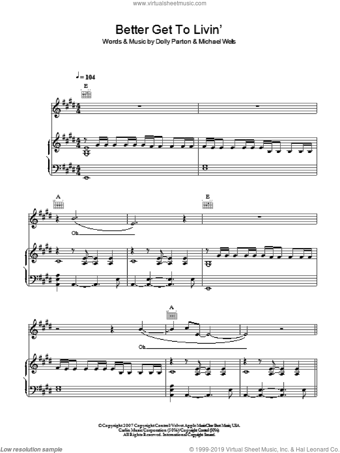 Better Get To Livin' sheet music for voice, piano or guitar by Dolly Parton and Michael Wells, intermediate skill level