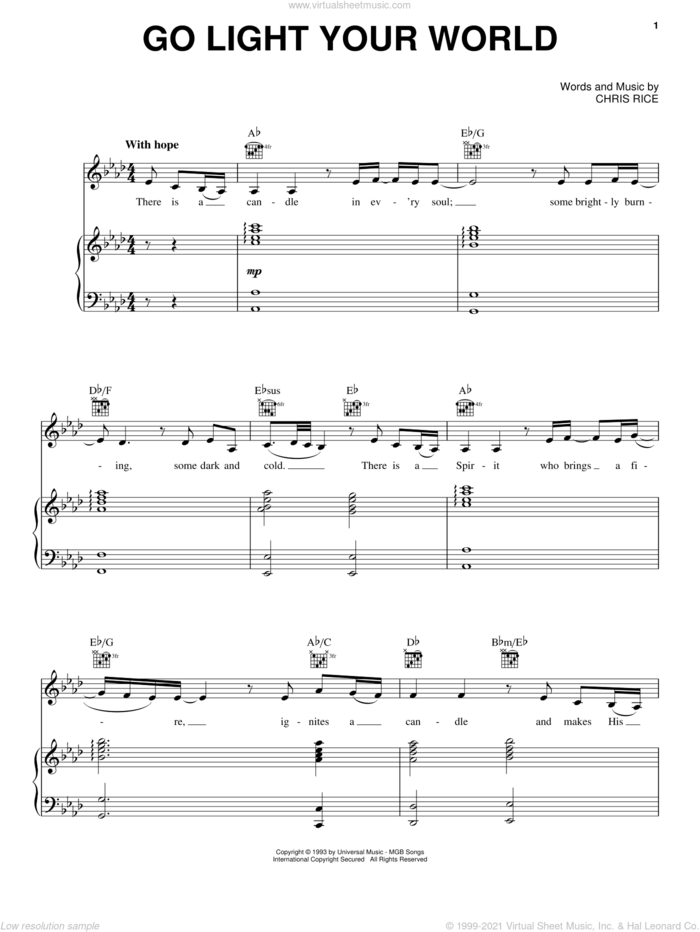 Go Light Your World sheet music for voice, piano or guitar by Kathy Troccoli and Chris Rice, intermediate skill level