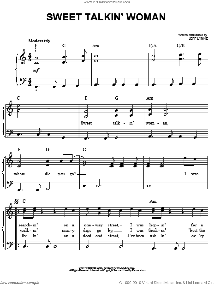 Sweet Talkin' Woman sheet music for piano solo by Electric Light Orchestra and Jeff Lynne, easy skill level