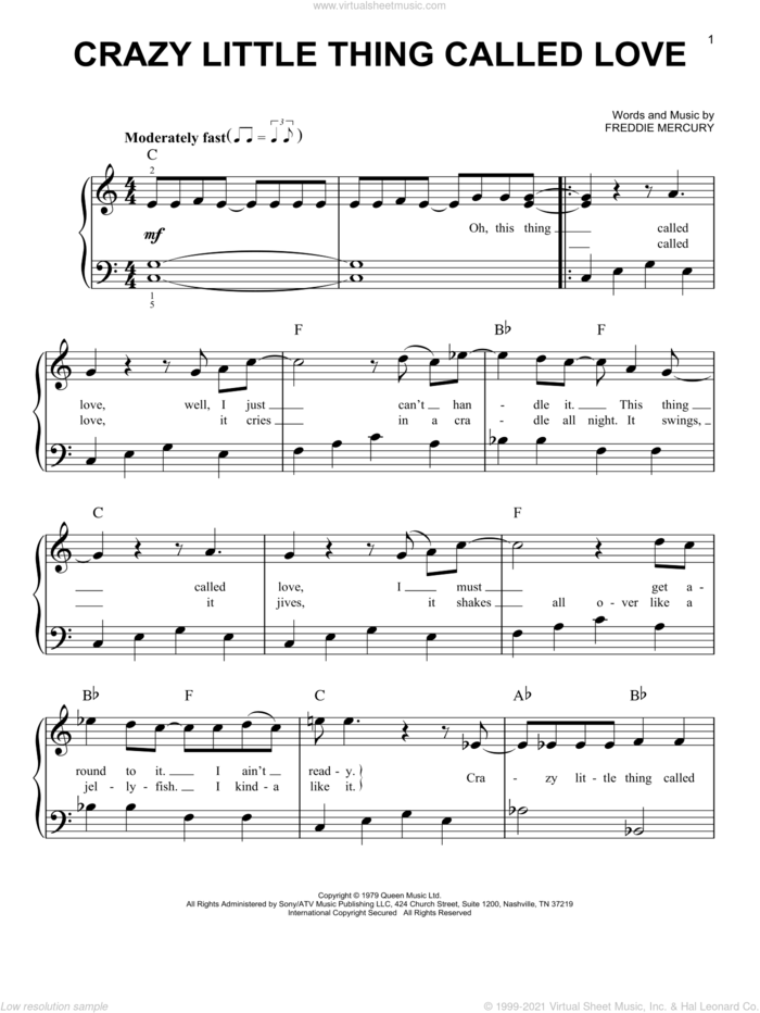 Crazy Little Thing Called Love, (easy) sheet music for piano solo by Queen and Freddie Mercury, easy skill level