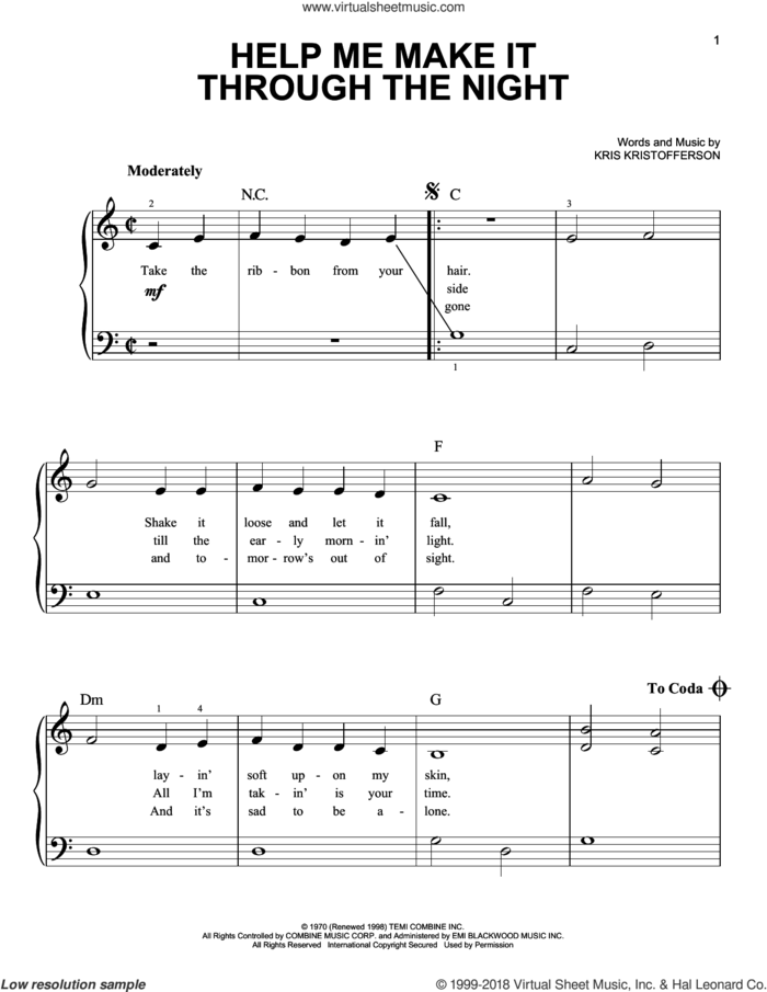 Help Me Make It Through The Night, (beginner) sheet music for piano solo by Kris Kristofferson, Elvis Presley, Sammi Smith and Willie Nelson, beginner skill level