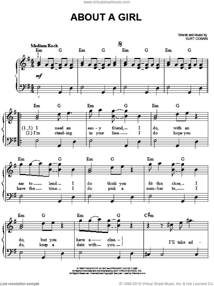 About A Girl sheet music for piano solo by Nirvana and Kurt Cobain, easy skill level