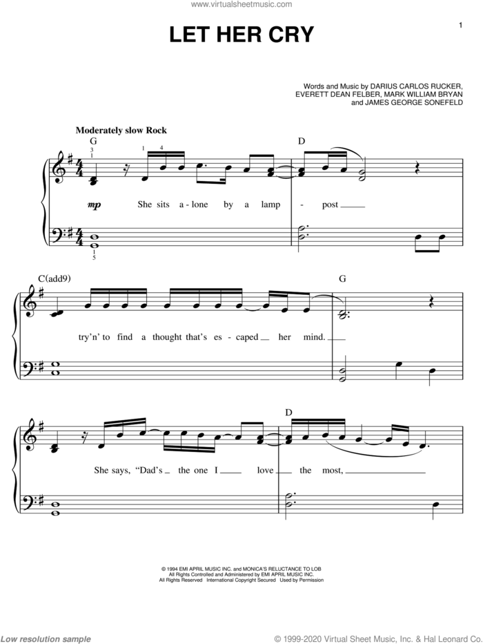Let Her Cry sheet music for piano solo by Hootie & The Blowfish, Darius Carlos Rucker, Everett Dean Felber, James George Sonefeld and Mark William Bryan, easy skill level