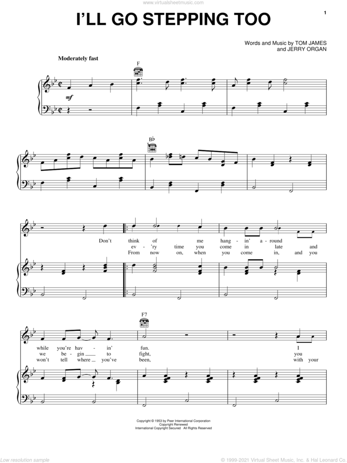 I'll Go Stepping Too sheet music for voice, piano or guitar by Flatt & Scruggs, Jerry Organ and Tommy James, intermediate skill level