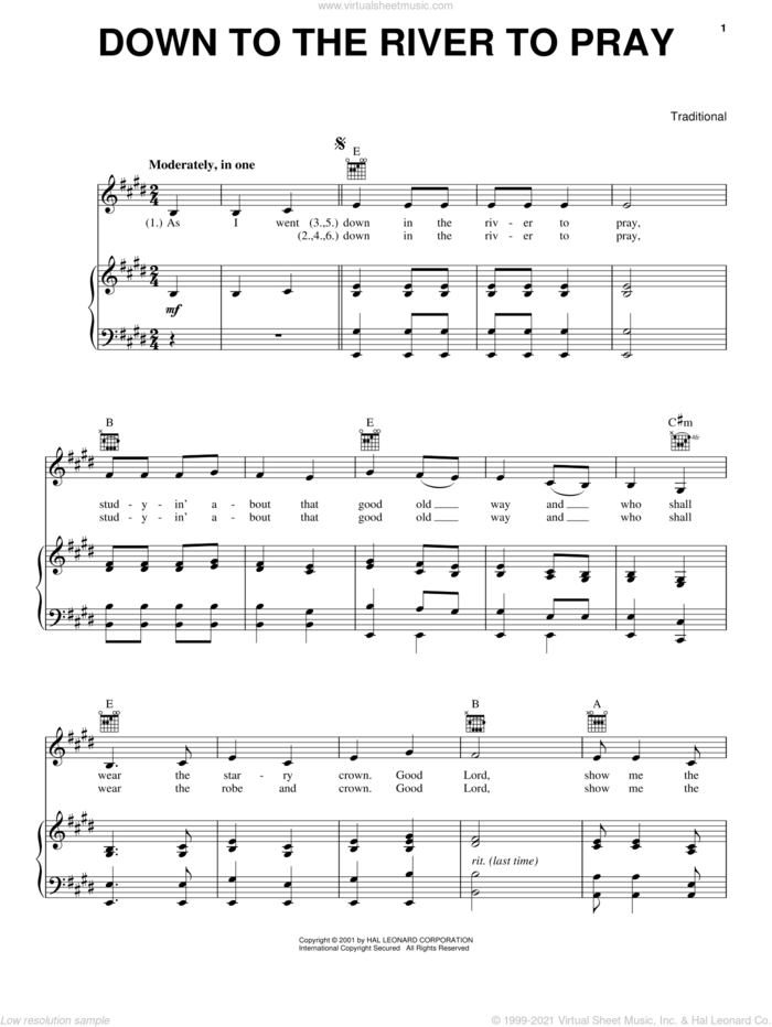 Down To The River To Pray sheet music for voice, piano or guitar, intermediate skill level