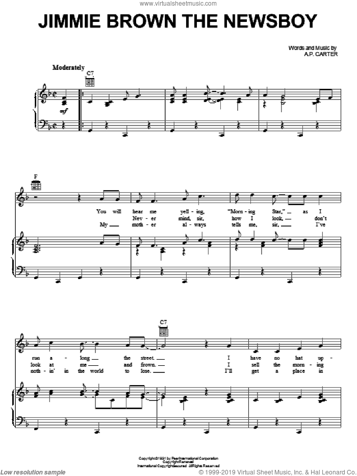 Jimmie Brown The Newsboy sheet music for voice, piano or guitar by The Carter Family and A.P. Carter, intermediate skill level